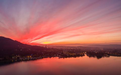coucher de soleil photo aerienne drone Annecy Haute Savoie